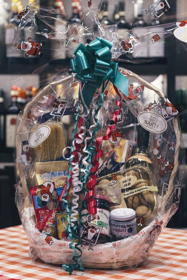 gift wrapped Italian Christmas hamper
