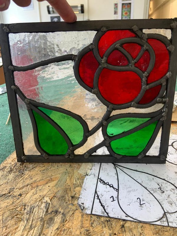 Rose Stained Glass Panel