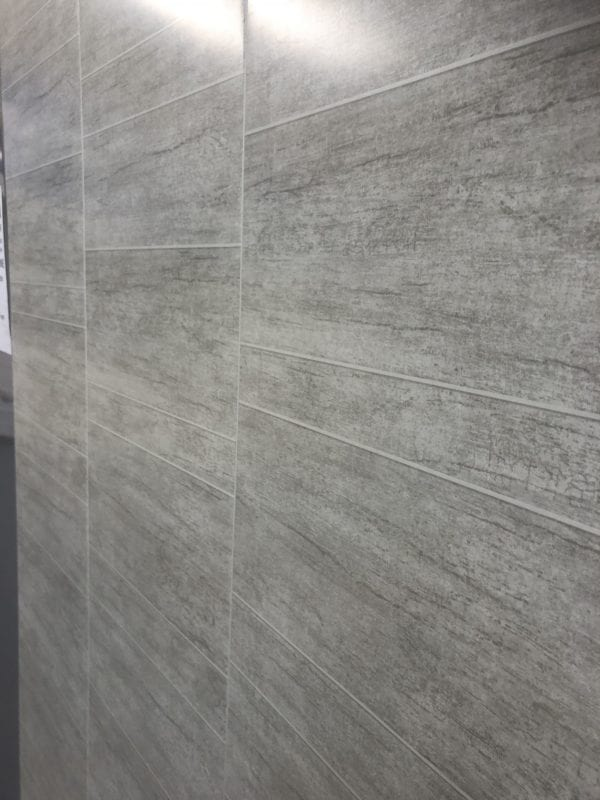 Grey Large Staggered Tile Decor - PVC Wet Wall Panel 2400 x 370 x 8mm