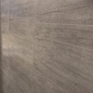 Beige Large Staggered Tile Decor - PVC Wet Wall Panel 2400 x 370 x 8mm
