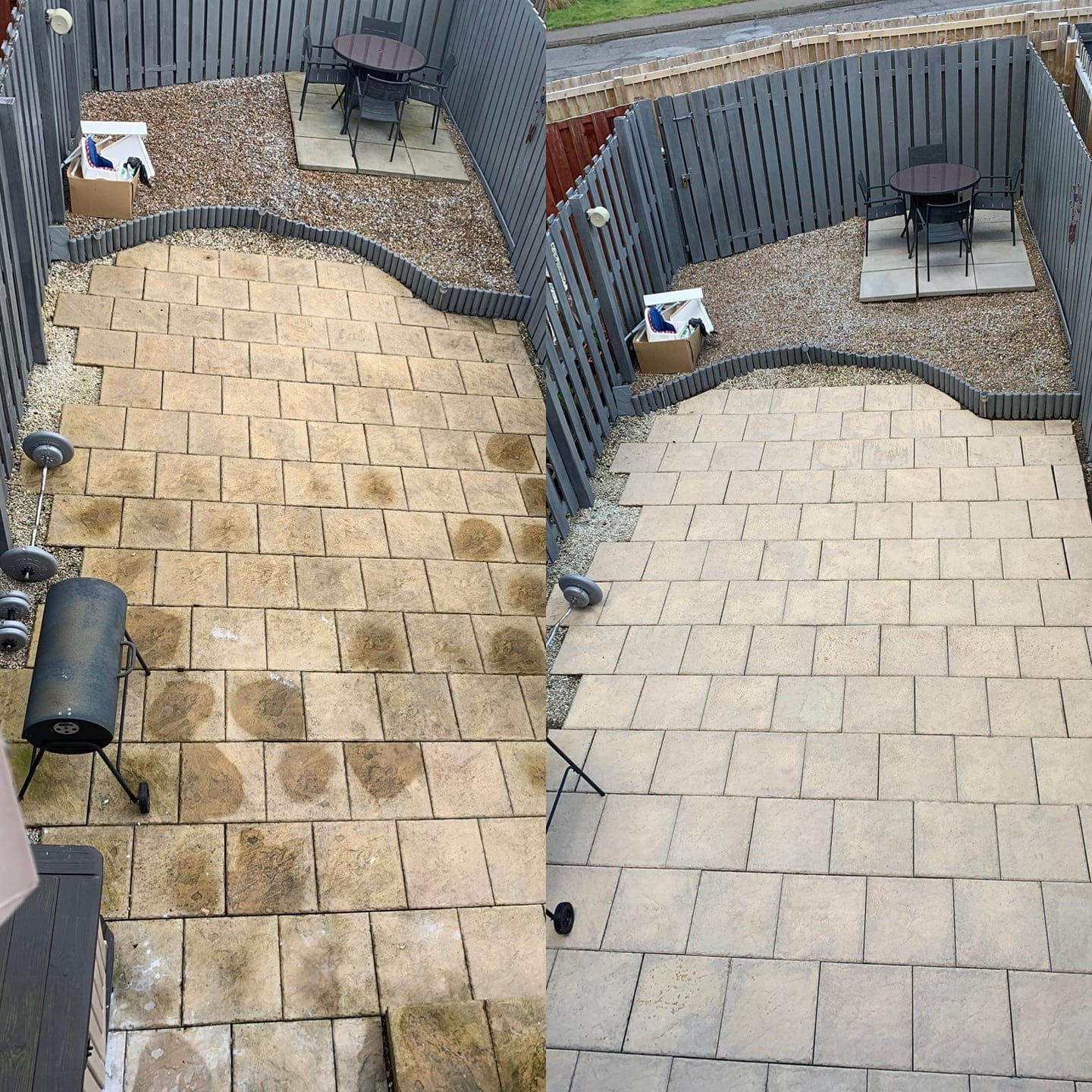 patio cleaning - before & after-  glasgow & paisley