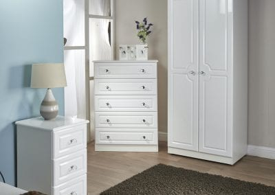 Balmoral White Gloss - Clyde Bed Centre